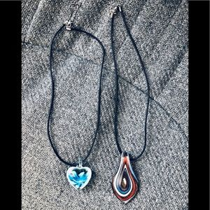 Jewelry - 2 Beautiful Hand Blown Glass Pendents w/Blk Cords